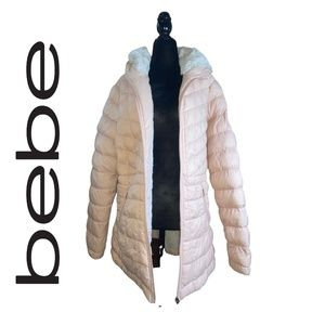 Bebe Pink Puffer Parka Coat